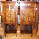 Victorian Marquetry Inlaid Rosewood Cabinets Pair