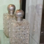 Sterling Silver Square Hand Cut Crystal Scent Bottles (London C1882) Pair