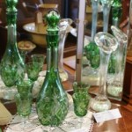 Bohemian Green Overlay Hand Cut Crystal Decanter & 6 Glasses