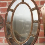 Antique 9 Glass Bevelled Edge Adams Style Mirror