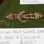 Victorian 15ct Gold & Seed Pearl Star & Crescent Bar Brooch