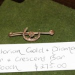 Victorian Gold & Diamond Star & Crsecent Bar Brooch
