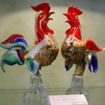Vintage Murano Glass Roosters Pair