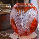 Bohemian Red/Orange Overlay Hand Cut Crystal Oval Vase