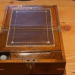 Victorian Mahogany and Brass Inlaid Fitted Writing Box with Key