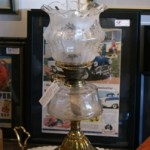 Victorian Clear Glass Banquet Kero Lamp with Original Shade