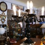 6 Arm Black Crystal Table Chandelier