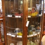 1930s Oak Half Round Leadlight Display Cabinet