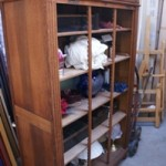 Antique French Oak Roll Front Office Cupboard