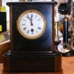 Vintage Victorian French Black & Rouge Marble Mantel Clock