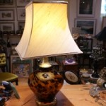 Vintage Italian Amber Spotted Glass Lamp 1960s