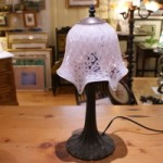 Vintage Table Lamp with Pink/White Hand Blown Glass Shade