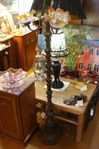 3 Arm Solid Brass Standard Lamp with Hand Painted French Glass Shades