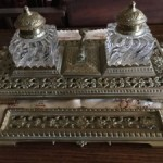 Beautiful Antique French Pierced Brass Inkwell with Pen Tray