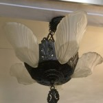 Art Deco 5 Slip Shade Chandelier