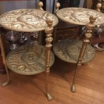 Vintage Brass End Table Italian Florentine Plant Stand Hollywood Regency Gold 2-Tier Brass Claw Foot Plant Stands