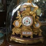 Antique French Gilt Spelter & Ormolu Mantel Clock