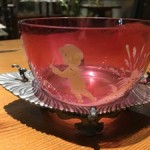 Mary Gregory Ruby Glass Bowl on EP Stand