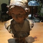 Antique Plaster Bust of Girl - signed C Triaca & Co