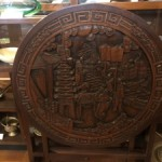 Antique Chinese Carved Wood Folding Table / Firescreen
